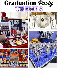 Prev1 of 10Next In celebration of your graduate, simply create a party featuring their school colors and mascot, or be a little more creative with a theme. Here are some great ideas to help you throw that perfect graduation party. Prev1 of 10Next