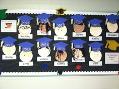 """""""Teacher, Teacher, What Do You See?...The Preschool Class of 2013 Looking At Me"""" I did this for the June bulletin board. The students painted plates and decorated them with yarn & googly eyes.  We took the faces down, added a gown, and hung them both on the wall for graduation. See that pin as well."""
