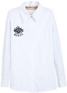 White Lapel Long Sleeve Eye Embroidered Blouse US$25.08