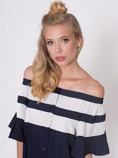 Tina Navy with White Stripes Longer at Back Button Front Dress Button Front Dress, Ss16, Off Shoulder Blouse, Stripes, Navy, Collection, Tops, Dresses, Women