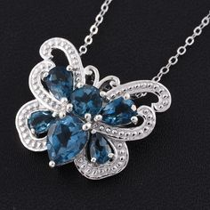London Blue Topaz Platinum Over Sterling Silver Butterfly Pendant with Chain