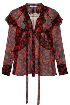 Givenchy - Ruffled Blouse In Floral-print Silk-chiffon - SALE20 at Checkout for an extra 20% off