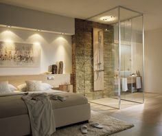 ... badkamer/slaapkamer combinatie. Het gebruik van houten elementen en de