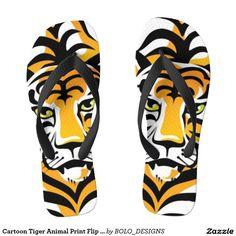 Shop Cartoon Tiger Animal Print Flip Flops created by BOLO_DESIGNS. Animal Print Flip Flops, Cartoon Tiger, Pet Tiger, Sock Shoes, Slippers, Thongs, Tigers, Socks, Manish