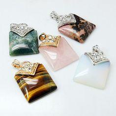 Gemstone Pendants, with Brass Findings and Rhinestone