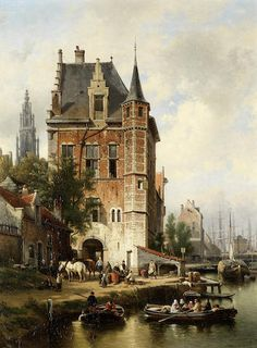Jean (Jan) Michael Ruyten (Belgian, View of Antwerp with the spire of Onze-Lieve-Vrouwekathedraal in the background Fantasy Landscape, Landscape Art, Top Imagem, Perspective Art, Medieval Life, Dutch Painters, Environment Concept Art, Antwerp Belgium, Architecture Drawings
