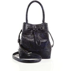 Tory Burch Snake-Embossed Leather Bucket Bag