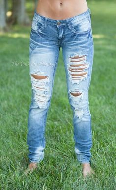 Light Wash Machine Distressed Jeans $39.99 ✴USE MY DISCOUNT CODE: AMIEREP10 AT CHECKOUT TO SAVE!!!✴ www.pinklilyboutique.com