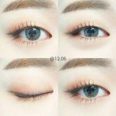 Make-up Tutorial Grunge Ideen - Makeup Tutorial Smokey Monolid Eyes, Monolid Makeup, Pink Eye Makeup, Kiss Makeup, Cute Makeup, Beauty Makeup, Makeup Style, Makeup Eyes, Korean Eye Makeup