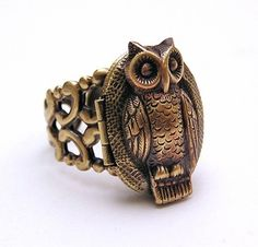 Steampunk OWL locket Ring ADORABLE by chinookhugs on Etsy, $59.99