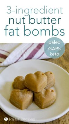 For a quick boost of energy with delicious taste, give these little easy nut butter fat bombs a try! They're paleo and GAPS-friendly. #gapsdiet #paleo #lowcarb #nutbutter #snack #fatbomb Best Gluten Free Recipes, Allergy Free Recipes, Gluten Free Snacks, Primal Recipes, Real Food Recipes, Vegetarian Recipes, Cooking Recipes, Cooking Tips, Easy Recipes