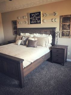 Most Beautiful Rustic Bedroom Design Ideas. You couldn't decide which one to choose between rustic bedroom designs? Are you looking for a stylish rustic bedroom design. We have put together the best rustic bedroom designs for you. Find your dream bedroom. Rustic Master Bedroom, Comfy Bedroom, Modern Bedroom Decor, Master Bedrooms, Bedroom Ideas Master On A Budget, Bedroom Wall Decor Above Bed, Rustic Bedroom Furniture, Bedroom Bed, Bathroom Decor Ideas On A Budget