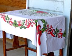 Vintage Christmas Tablecloth by JunkJunkys on Etsy, $20.99