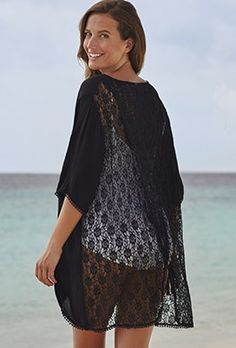 5985e2be7cc Cover Ups - swimsuitsforall Black Revelation Tunic Swimwear Sale