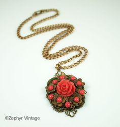 Vintage Pendant Necklace Coral Lucite Flower Goldtone Filigree Antique Jewelry