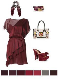 burgundy, peach, red
