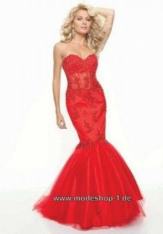 Fishtail Linie Abendkleid Bodenlang in Rot
