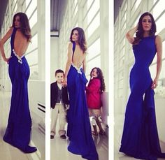 Backless Royal Blue Mermaid Special Prom Dress Party Dress Formal Dress