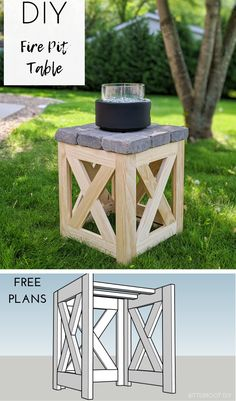 DIY Gas Fire Pit Table | build a gas fire pit table for your porch or patio with plans from Bitterroot DIY.  #patioideas #frontporch #porch #patio #outdoorfurniture #diyfurniture #woodworking