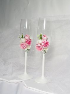 wedding glasses with pink and ivory rose, toasted flutes, champain glasses 2psc.