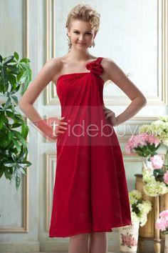 Aライン ワンショルダー 膝上 ブライズメイドドレス