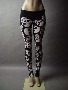 Black White Skull Design Graphic Punk Rock Roll Emo Goth Skinny Pant Legging L | eBay