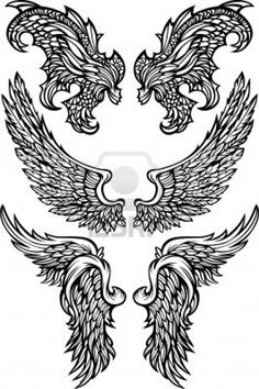 Angel & Demon Wings Ornate Vector Images Stock Photo - 10963539 *middle set