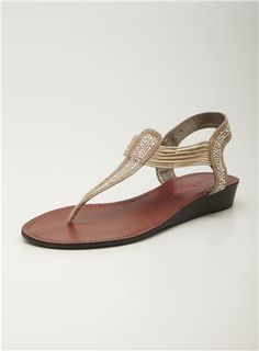 Wedge Thong Sandal, Pink and Pepper