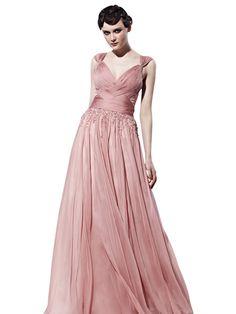 Magdalene in Pink Chiffon Beaded Bridesmaid Dress