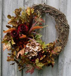 Fall Wreath, Autumn Wreaths, Thanksgiving, Harvest,  Designer Wreath, Elegant Fall Floral, Elegant Holiday Wreath