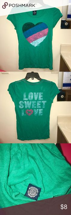 💖 LOVE SWEET LOVE 💖 PINK Colorful Heart Soft Tee 60% cotton, 40% polyester. Extremely soft tee from Victoria's Secret PINK with tag detail on left sleeve. Pilling and some slight discoloration from wash and wear, gives it a vintage look and favorite tee feel. PINK Victoria's Secret Tops Tees - Short Sleeve