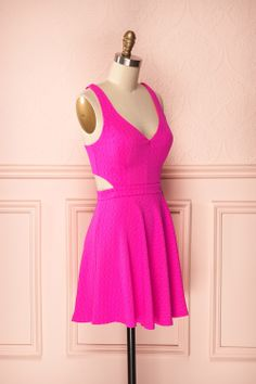 Josiane Vibrant - Hot pink textured circle skirt dress with cutouts