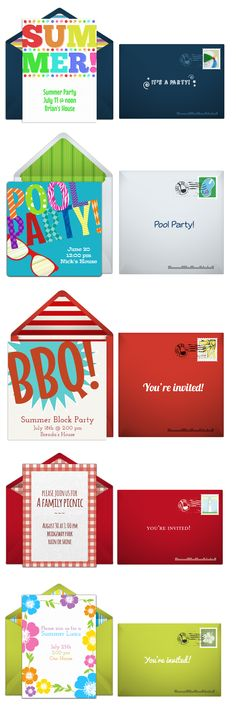 Paper invites are too formal, and emails are too casual. Get it just right with online invitations from Punchbowl. We've got everything you need for your summer bash.  http://www.punchbowl.com/online-invitations/category/19/?utm_source=Pinterest&utm_medium=5.9P