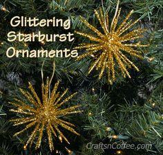 Sparkling Starburst Ornaments made with toothpicks and Styrofoam balls. CraftsnCoffee.com.