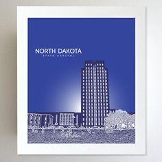North Dakota Skyline State Capitol Landmark - Modern Gift Decor Art Poster 8x10. $20.00, via Etsy.