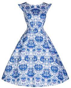 fc5ddbc5d290 Lindy Bop  Ruth  Delightfully Darling Vintage Print Inspired Tea Dress (XS