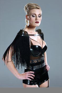 Latex fringe shoulder pads by Eustratia on Etsy, £50.00