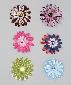 Take a look at this Bright Polka Dot Flower Clip Set by Itzy Bitzy on #zulily today!