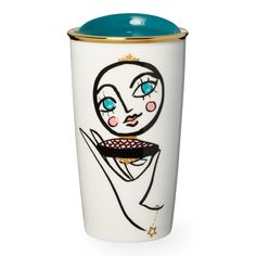 A double-walled ceramic mug with a blushing face and mirror design, part of the Starbucks Dot Collection.