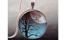 Moonrise Tree art pendant charm, tree jewelry, tree necklace resin pendant (220) on Etsy, $9.25
