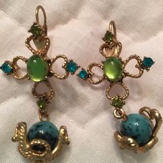 Statement Earrings Gorgeous statement earrings with blue and green gemstones on gold wire. Simulated turquoise stones. Jewelry Earrings