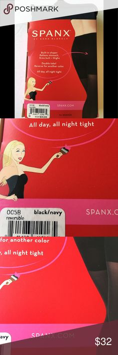 6f384bf1723 Spanx Shaper Reversible Tights Navy Blacks Shapes New with Box Spanx  reversible shape tights in