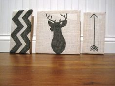 White Burlap Deer Antlers Silhouette, Chevron, Arrow Art Blocks, set of three, Gallery Wall Decor, Gray on Etsy, $28.00