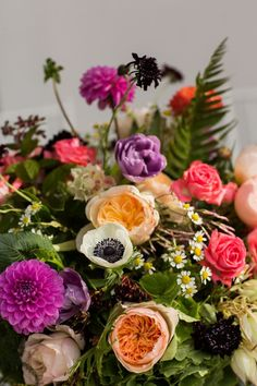 An assortment of bright blooms arranged by Sachi Rose | Photo by Sarah Tew