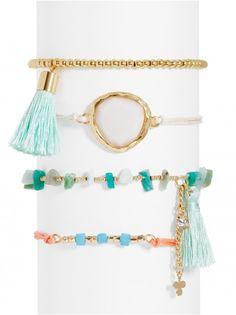 The soft hues in this bracelet set evoke white sands and ocean breezes.