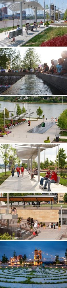 The John G. and Phyllis W. Smale Riverfront Park is a 32-acre park along the banks of the Ohio River in downtown Cincinnati. Click image for link to full profile via Sasaki Design, and visit the slowottawa.ca boards >> https://www.pinterest.com/slowottawa/: