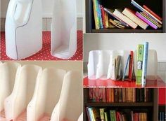 28 Super Ingenious Methods to Reuse Old Bottles in DIY Crafts homesthetics decor ~ How to DIY Book Organizer from Recycled Plastic Bottles + other ideas for reuse DIY Book Projects Upcycle - Top 17 Of The Most Insanely Genius Tutorials For Reusing Plastic Reuse Plastic Bottles, Plastic Bottle Crafts, Old Bottles, Recycled Bottles, Plastic Jugs, Plastic Recycling, Diy Bottle, How To Recycle Plastic, Diy Projects Plastic Bottles