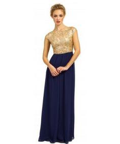 Madison Gold & Navy  Maxi Dress