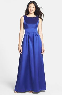Alfred Sung Bow Back Sateen Twill Gown available at #Nordstrom