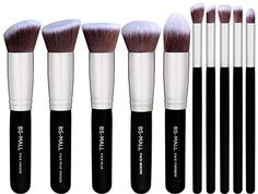 BS-MALL(TM) Premium Synthetic Kabuki Makeup Brush Set Cosmetics Foundation Blending Blush Eyeliner Face Powder Brush Makeup Brush Kit(10pcs, Silver Black)